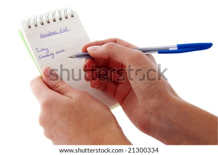 An isolated to White image of a Notepad with a Christmas list on it
