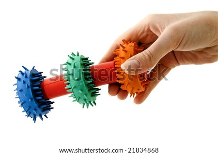 An isolated to white image of a textured dog toy - stock photo