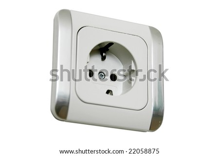 An isolated to white photo of a European single power socket