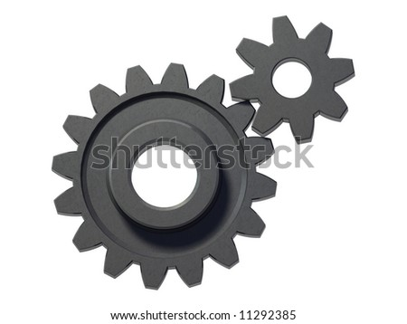 An isolated two small cogwheels on white background - stock photo
