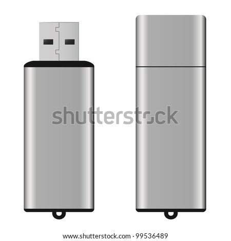 An isolated USB pen drive - stock photo