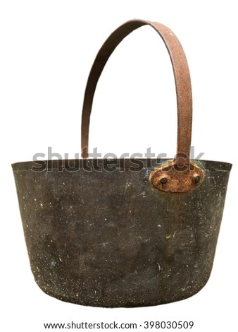 An Isolated Vintage Brass Or Bronze Pail Or Bucket - stock photo