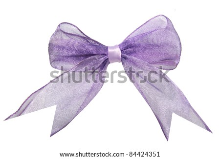 An isolated violet bow - stock photo