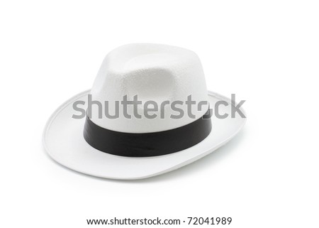 An isolated white trilby hat - stock photo