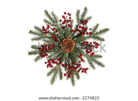 An isolated wreath in the shape of a snowflake - stock photo