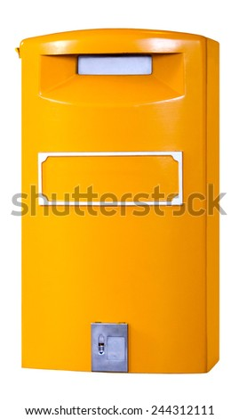 An isolated yellow European mail collection box II. - stock photo