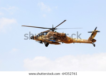 An Israeli apache attach helicopter during training - stock photo