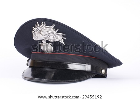 an Italian police hat, against a white background - stock photo