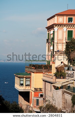 An Italian style villa in Sorrento, with terrace facing the sea - stock photo