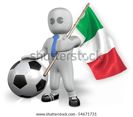 An Italy football fan with a ball and a flag - stock photo