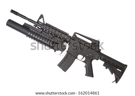 An M4A1 carbine equipped with an M203 grenade launcher - stock photo