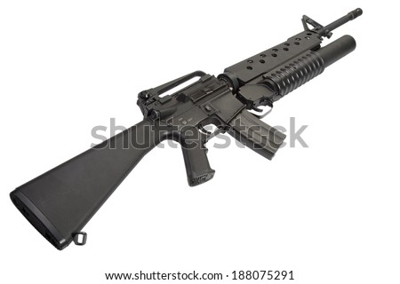 An M16A4 rifle equipped with an M203 grenade launcher - stock photo