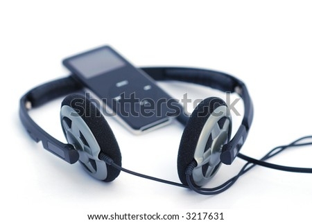 An MP3 player and headphones