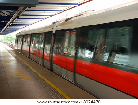 An MRT train in Singapore - stock photo