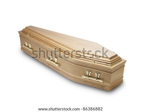 an oak coffin casket isolated on white with clipping path - stock photo