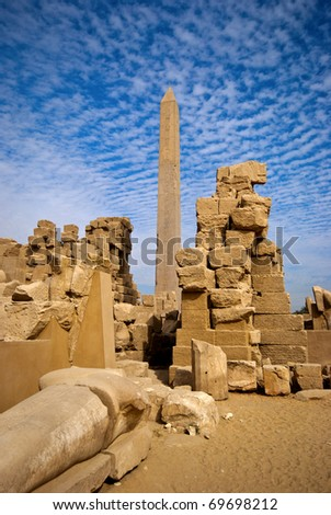 an obelisk in the karnak temple in luxor - stock photo