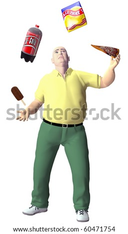 An obese junk food junkie man juggles high fat cola pizza potato chips ice cream snack food. - stock photo