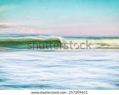 An ocean wave done in a vintage, retro style with motion blur.  Image is overlaid with a paper background and displays significant grain and texture when viewed at 100 percent. - stock photo