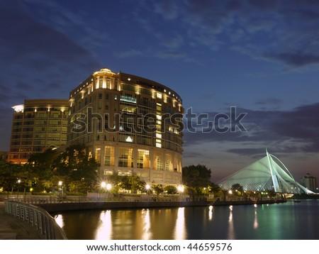 An office building in Putrajaya ( near Kuala Lumpur, Malaysia) by night - stock photo