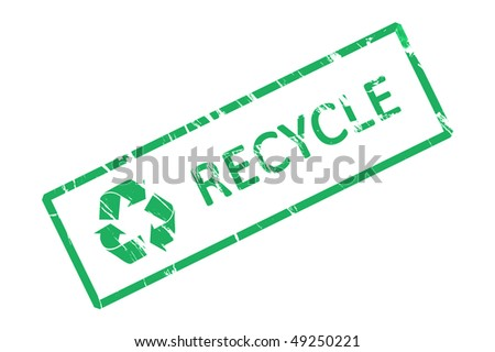 An office stamp with green letters recycle - stock photo