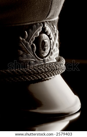 An officer hat of the East German Secret Police or Stasi - stock photo