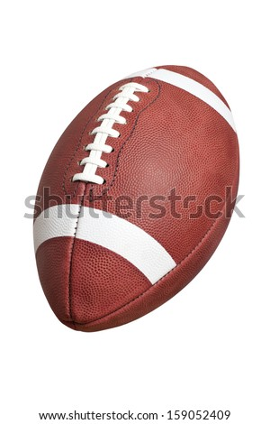 An official, leather college style football isolated on a white background - stock photo