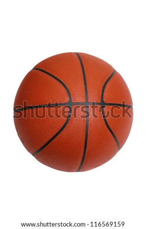 An official size basketball isolated on a white background with a clipping path - stock photo