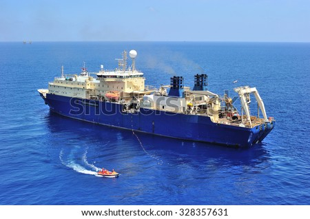 An offshore vessel to support oil and gas exploration - stock photo
