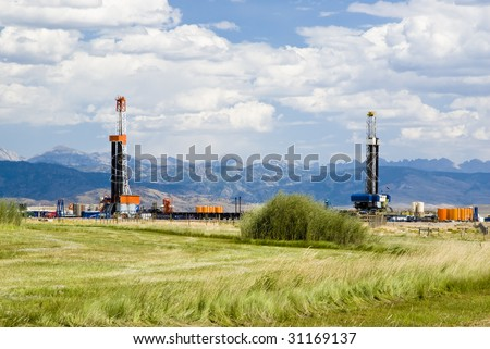 an oil drilling rigs in the oil fields of Wyoming