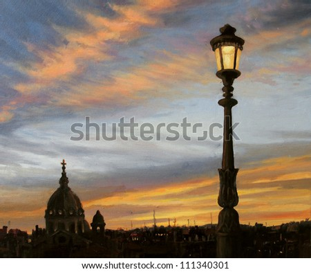An oil painting on canvas of a early evening view from the capital of Italy, Rome with the silhouette of the cathedral dome and a beautiful lamp post in front of the colorful sunset. - stock photo
