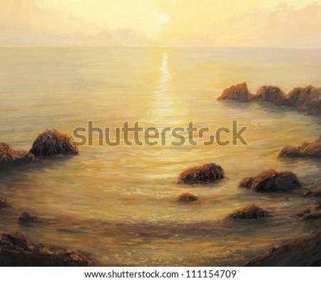 An oil painting on canvas of a early morning golden sunrise with shining sun path on the calm and peaceful sea surface in the summer. - stock photo