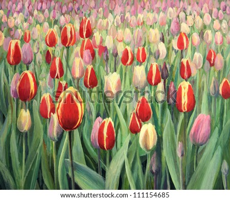 An oil painting on canvas of a spring seasonal theme. Colorful red, pink and yellow blooming tulips on display in Keukenhof Gardens, Netherlands. - stock photo