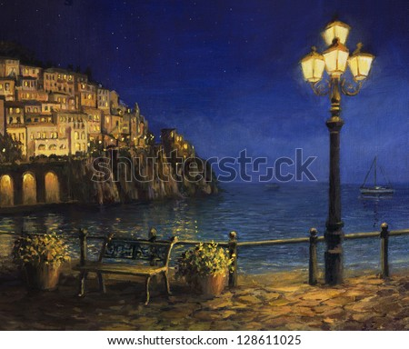 An oil painting on canvas, of a starry romantic evening at the coast of Amalfi in Italy. Tranquil scene with calm waters, city lights and a lamp post at the front.