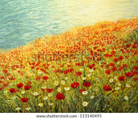 An oil painting on canvas of a tranquil scene at the sea coast. High above the water surface a carpet full of red poppies and white daisies is blooming in the late spring afternoon. - stock photo