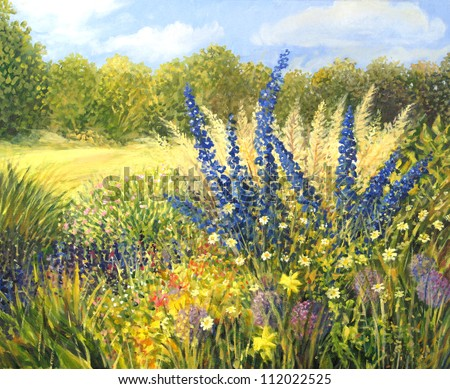 An oil painting on canvas of a vibrant spring meadow full of wild colorful flowers with beautiful blue Delphiniums dominating the landscape and a clear blue sky in the bright sunny day. - stock photo