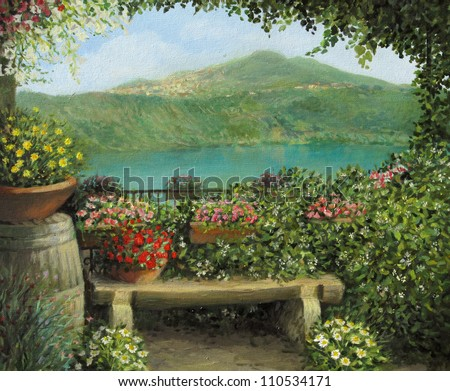 An oil painting on canvas of a view toward the lake in Castel Gandolfo, Italy with a romantic bench framed by blooming colorful flowers. - stock photo