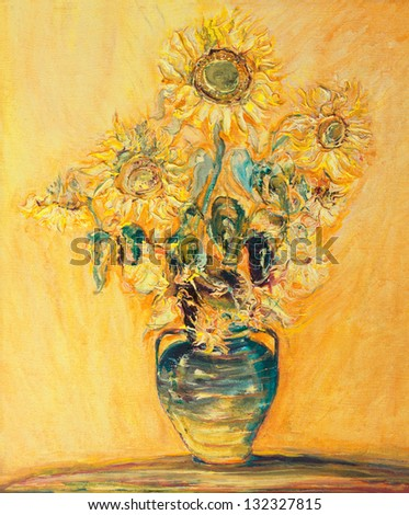 An oil painting on canvas of bright colorful Sunflowers bouquet over a yellow orange background.