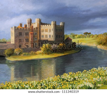 An oil painting on canvas of the famous Leeds Castle in Kent surrounded by a peaceful lake with spring flowers blooming in yellow and white at the meadow. - stock photo