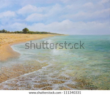 An oil painting on canvas of the sandy beach near village Krapets in the summer with calm, inviting crystal clear water. Idyllic landscape of a peaceful, secluded place away from the tourist crowds.