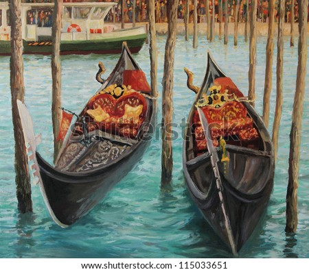 An oil painting on canvas of Two Venetian Gondolas, famous boats waiting for tourists near the popular Rialto Bridge on Grand canal in Venice, Italy. - stock photo
