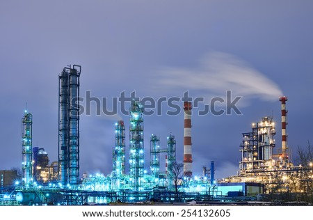 An oil refinery at night