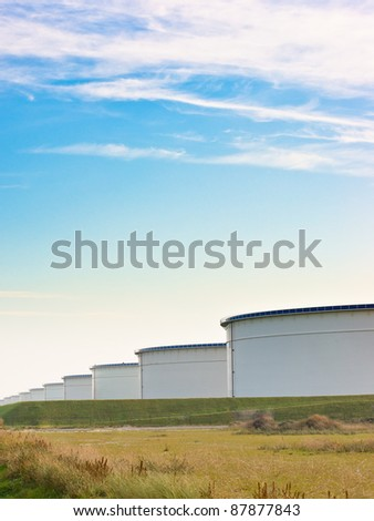 An oil terminal in the harbor - stock photo