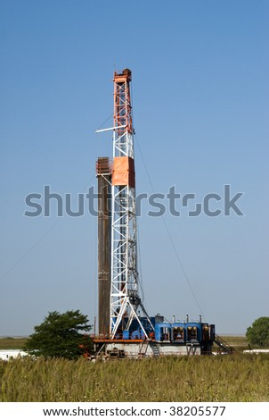 an oil well drilling rig in Texas