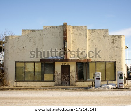 An old abandoned gas station