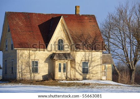 Traditional American Farmhouses In Winter