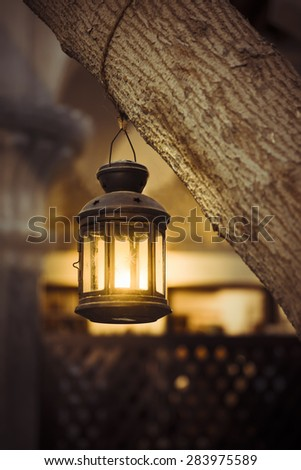 An old and grunge candle holder hanging from a tree trunk. - stock photo