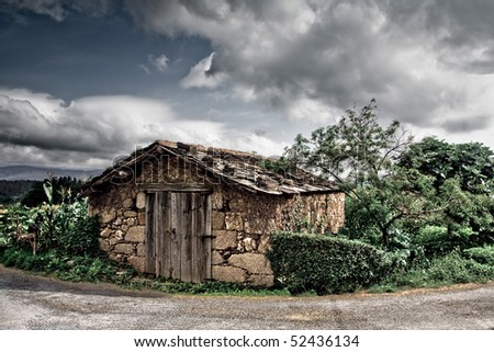 An old and rustic house surrounded with vegetation - stock photo