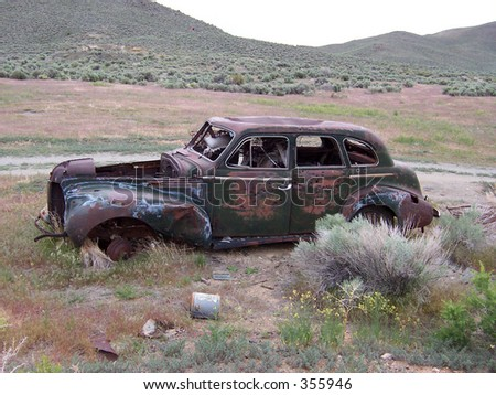 An old antique car found outside of Gold Hill, Utah - stock photo