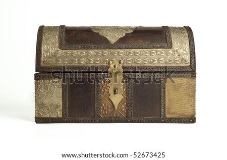 An old antique, closed, arabic trunk. - stock photo