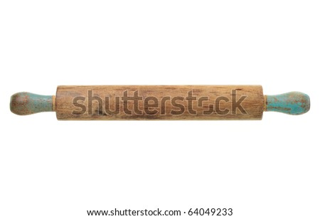 An old, antique rolling pin isolated on a white background.